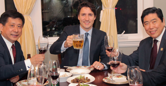 Image result for justin trudeau and chinese businessmen