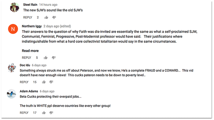 1b3350cce34 Sampling of YouTube comments critical of Jordan Peterson