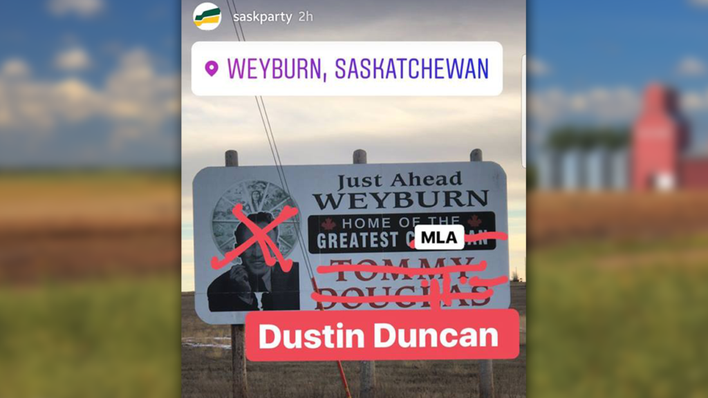 pressprogress saskatchewan party deeply regrets defacing billboard honouring tommy douglas on instagram