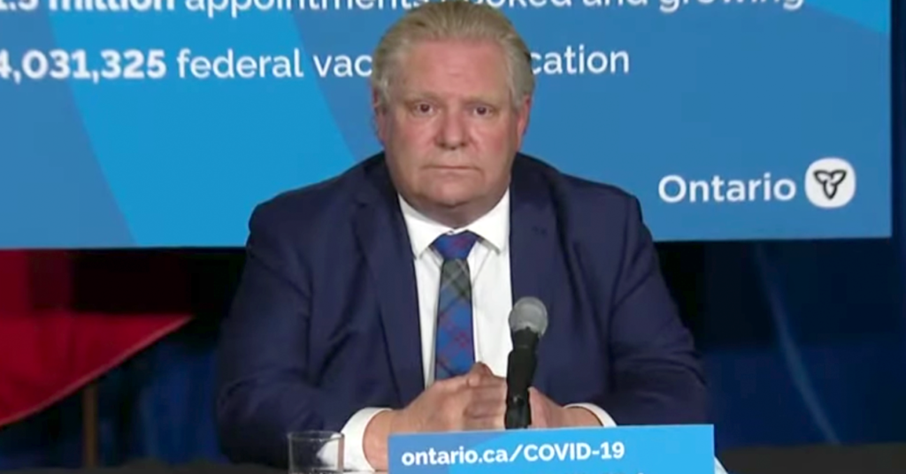 Doug Ford: People Who Think Essential Workers Need Paid Sick Days are 'Totally Irresponsible'